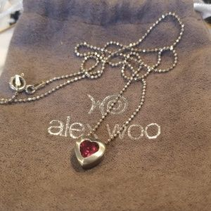 Alex Woo Ruby Heart Necklace